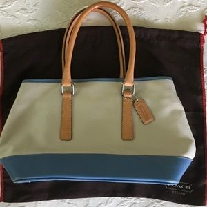 COACH Periwinkle Blue Leather & Tan Canvas Purse